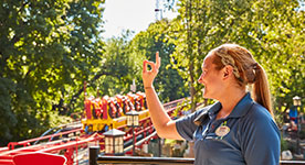 woman working Storm Runner at Hersheypark