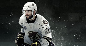action shot of Hershey Bears hocky player
