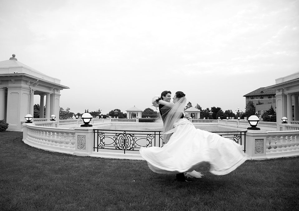 Bridal couple twirling at The Hotel Hershey