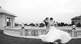 newlywed couple swirling at The Hotel Hershey