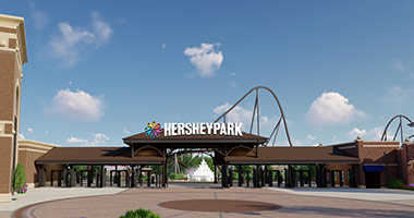 Render of the new front gate coming soon to Hersheypark