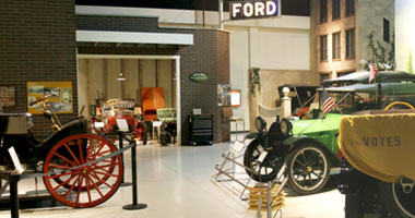 an exhibit of antique cars at the Antique Auto Museum