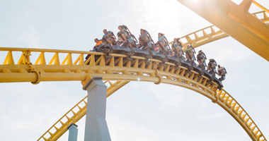 Hersheypark Skyrush roller coaster going through a turn