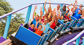Family riding a roller coaster at Dutch Wonderland