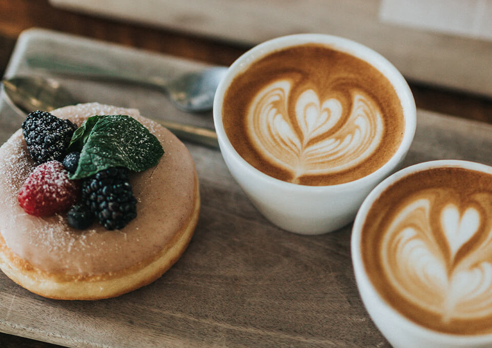 donut and latte drinks