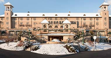 The Hotel Hershey exterior in winter with snow